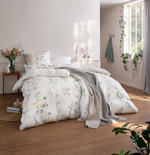 Bettwäsche Estella Primavera 1061 SATIN DE LUXE multicolor 155x200 + 80x80 + 40x80 cm