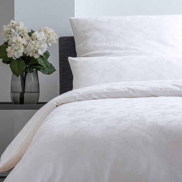 Bettwäsche Estella Carrara 2353 PREMIUM-DAMAST weiß 155x200 + 80x80 + 40x80 cm