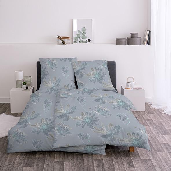 Bettwäsche Estella Ilva 5133 EDELFLANELL bleu 135x200 + 80x80 cm