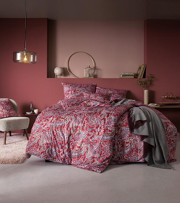 Bettwäsche Estella Milano 6373 MAKO-INTERLOCK-JERSEY rot 135x200 + 80x80 cm