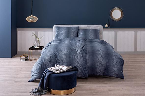 Bettwäsche Estella Juri 6928 MAKO-INTERLOCK-JERSEY nachtblau 155x220 + 80x80 cm