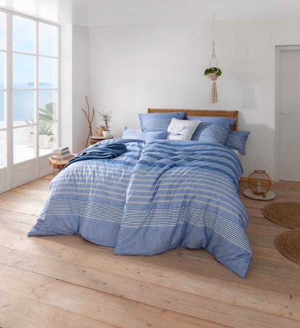 Bettwäsche Estella Alvar 7495 MAKO-SATIN bleu 155x200 + 80x80 + 40x80 cm