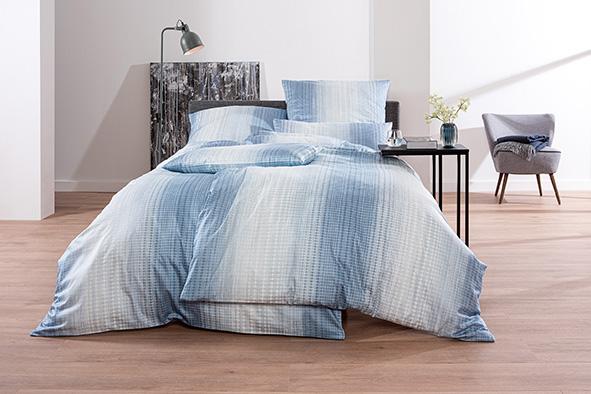 Bettwäsche Estella Askil 7545 MAKO-SATIN blau 135x200 + 80x80 + 40x80 cm