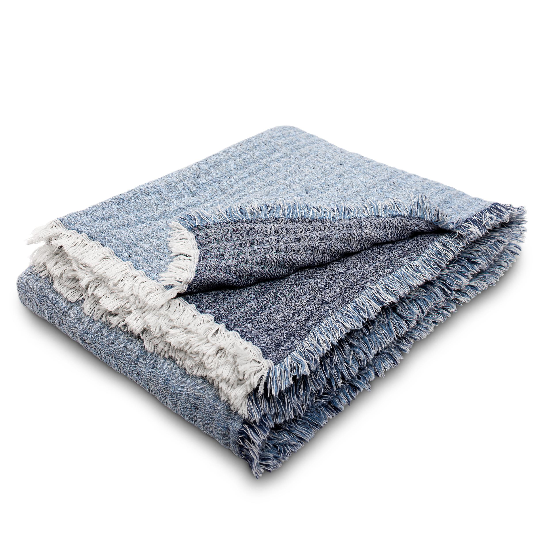 Premium-Plaid Mit Wolle Estella Levanto 8607 270 marine 150x200 cm